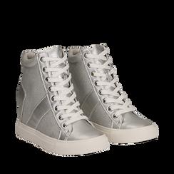 Sneakers argento in tessuto laminato con zeppa, Scarpe, 132005004LMARGE035, 002a