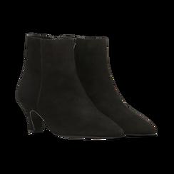 Tronchetti neri in vero camoscio, tacco a rocchetto basso 6 cm+, Primadonna, 127200154CMNERO, 002 preview