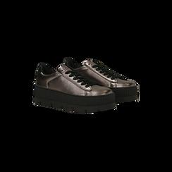 Sneakers canna di fucile con suola extra platform zigrinata, Scarpe, 122618776EPCANN, 002 preview