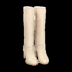 Bottes beige en cuir de veau, talon 9 cm, Chaussures, 158900890VIBEIG036, 002 preview