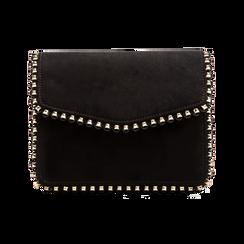 Pochette con tracolla nera in microfibra scamosciata, profili mini-borchie, Saldi Borse, 123308852MFNEROUNI, 001 preview