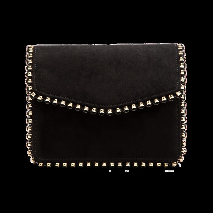 Pochette con tracolla nera in microfibra scamosciata, profili mini-borchie, Saldi Borse, 123308852MFNEROUNI