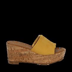 Zeppe platform gialle in microfibra, zeppa in sughero 8 cm, Primadonna, 134955111MFGIAL037, 001a