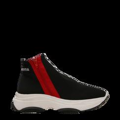 Sneakers  slip-on nere in lycra con zip, Scarpe, 12A783210LYNERO036, 001a