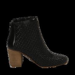 Ankle boots neri in pelle intrecciata, tacco 8 cm, Scarpe, 13C515018PINERO035, 001a