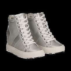 Sneakers argento in tessuto laminato con zeppa, Scarpe, 132005004LMARGE036, 002 preview