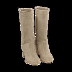 Stivali taupe in camoscio, tacco 9 cm, Scarpe, 158900891CMTAUP036, 002 preview