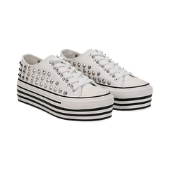 Sneakers bianche in canvas con borchie, platform 4 cm, Scarpe, 132619223CABIAN036, 002 preview