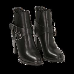 Ankle boots neri in pelle di vitello, tacco 8 cm , Stivaletti, 148900180VINERO036, 002a