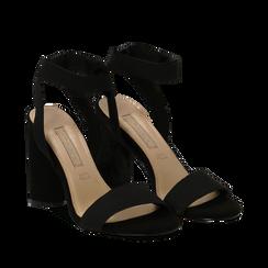 Sandali neri in tessuto elastico, tacco 10,50 cm, Sandali con tacco, 132133877TSNERO035, 002a
