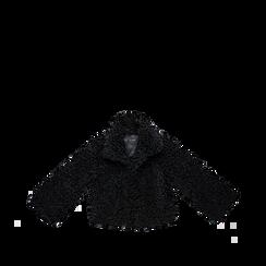 Pelliccia nera corta eco-shearling, manica lunga, Abbigliamento, 12B432302FUNERO, 001a preview