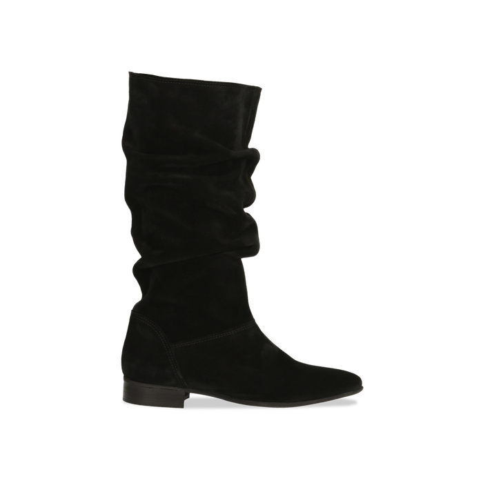 nuovo di zecca 93472 e291a Stivali Neri in vero camoscio con gambale morbido, tacco 2,5 cm