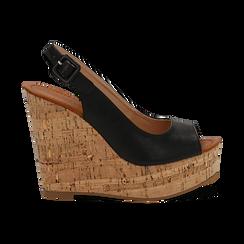 Sandali platform neri in eco-pelle, zeppa in sughero 12 cm , Primadonna, 134907982EPNERO035, 001 preview