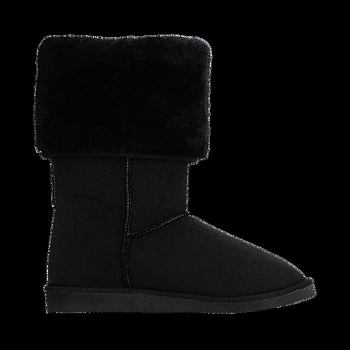 Scarponcini invernali scamosciati neri con risvolto in eco-fur, Primadonna, 125001204MFNERO