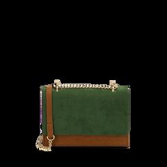 Borsa piccola verde in microfibra, IDEE REGALO, 165123006MFVERDUNI, 001a