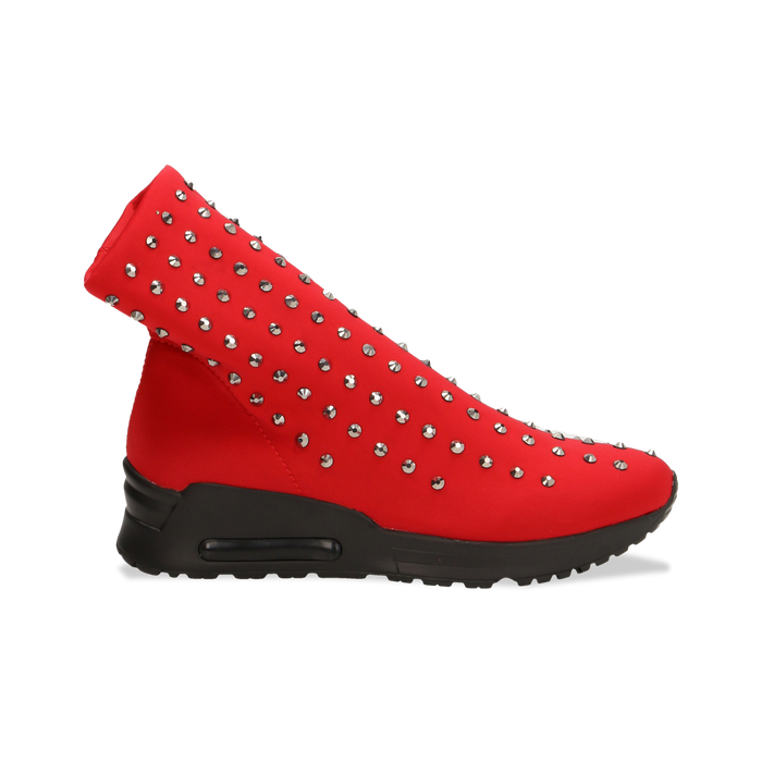 Sneakers rosse slip-on in lycra con cristalli, Primadonna, 122808611LYROSS037