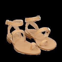 Sandali beige in pelle di vacchetta, Primadonna, 158100570VABEIG037, 002a