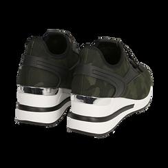 Sneakers camouflage in tessuto con zeppa, Primadonna, 152803421TSMILI036, 004 preview