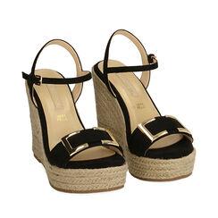 Sandalias de microfibra negra, cuña 12 cm, 172108248MFNERO038, 002a