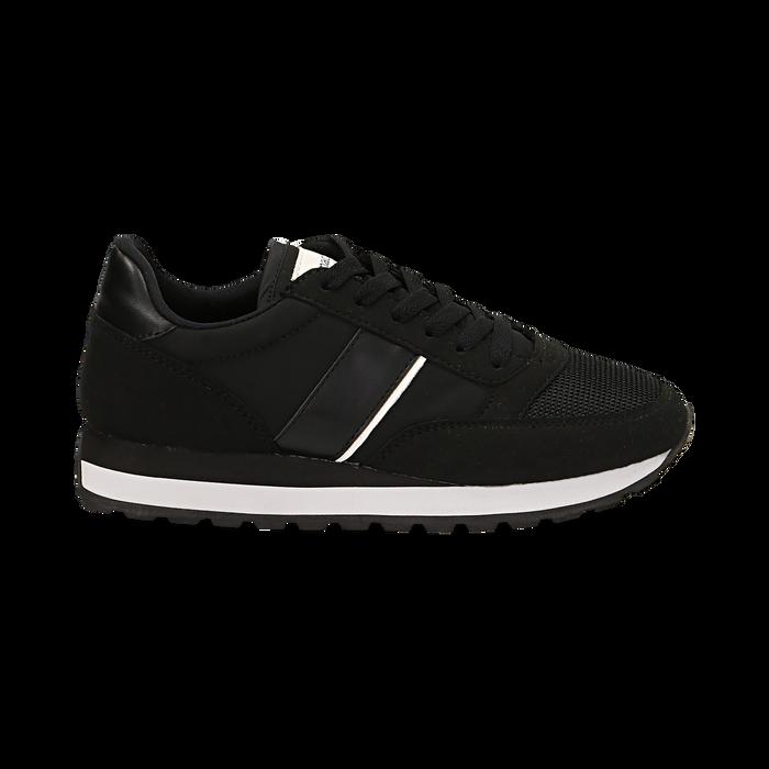 Sneakers nere in tessuto tecnico , Scarpe, 142619079TSNERO036