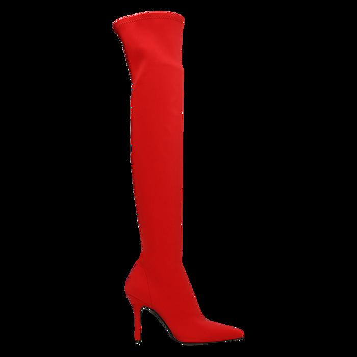 Stivali sopra il ginocchio rossi in lycra, tacco 10 cm, Scarpe, 122187852LYROSS
