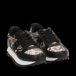 Sneakers bianco/nere stampa pitone, Primadonna, 162619079PTBINE035, 002a