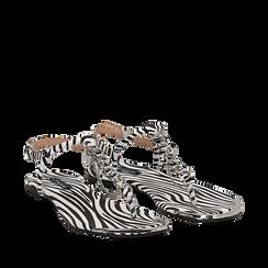 Sandali infradito flat zebra print in microfibra, con catenelle, Primadonna, 134909285MFZEBR035, 002a
