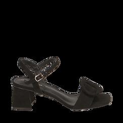 Sandali neri in microfibra, tacco 5,50 cm, Scarpe, 159797004MFNERO037, 001a