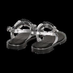 Sandali flat argento in laminato con dettagli snake skin, Primadonna, 136102170LMARGE036, 004 preview