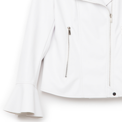 Biker jacket bianca in eco-pelle, con maniche scampanate, Primadonna, 136501875EPBIANL, 002a
