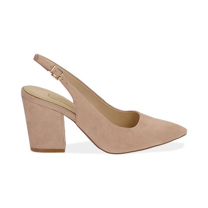 Slingback nude de microfibra, tacón 8,50 cm, Zapatos, 172183402MFNUDE037