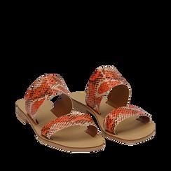 Mules flat arancio in vernice effetto snake skin, Saldi Estivi, 136767003PTARAN035, 002a