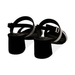 Sandali neri in microfibra con strass, tacco 6,5 cm, Primadonna, 152909505MPNERO035, 004 preview