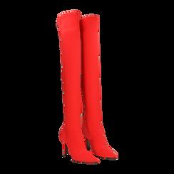Stivali sopra il ginocchio rossi in lycra, tacco 10 cm, 122187852LYROSS036, 002