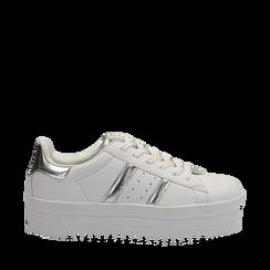 Sneakers bianche in eco-pelle con suola platform 4 cm, Scarpe, 130101010EPBIAN035, 001a