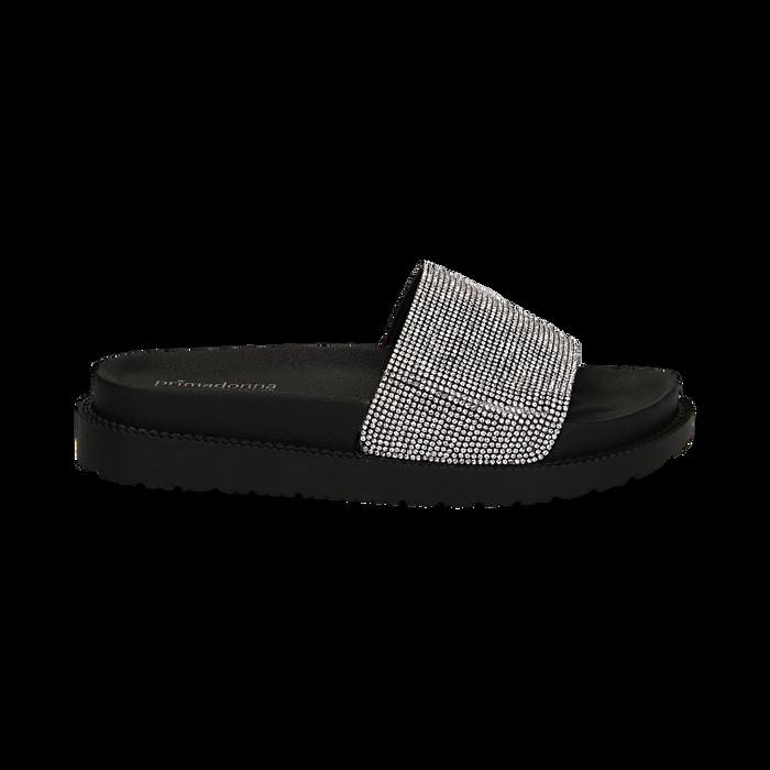 Zeppe da mare nere in pvc con strass, Scarpe, 134700045PVNERO035