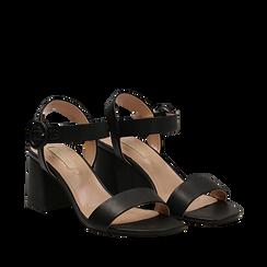 Sandali neri in eco-pelle, tacco trapezio 6 cm , Scarpe, 132707569EPNERO035, 002a