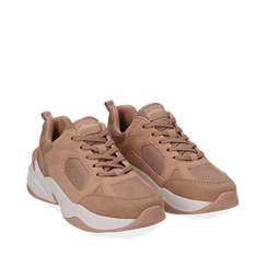 Dad shoes nude in microfibra, zeppa 4,50 cm, Sneakers, 142619462MFNUDE036, 002a