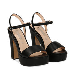 Sandali con plateau neri in eco-pelle, tacco 13 cm , Scarpe, 138404164EPNERO035, 002a