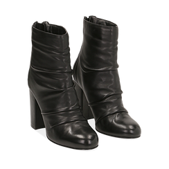 Ankle boots neri in pelle, tacco 10 cm , Stivaletti, 14D601211PENERO035, 002a