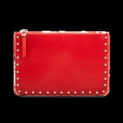 Clutch rossa in ecopelle con profilo mini-borchie, Borse, 123308330EPROSSUNI, 001 preview