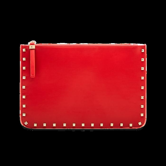 Clutch rossa in ecopelle con profilo mini-borchie, Saldi, 123308330EPROSSUNI