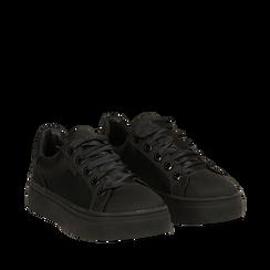 Sneakers nere in tessuto, suola 4 cm, Scarpe, 142509512TSNERO036, 002a