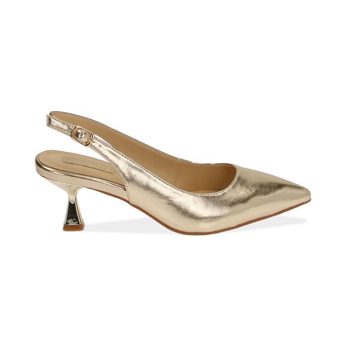 Slingback oro laminato, tacco 6 cm , Primadonna, 174954431LMOROG035