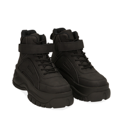Sneakers platform nere in micro-nabuk, con strap, zeppa 5,50 cm , Scarpe, 14D814403MNNERO035, 002a