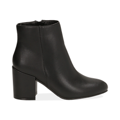 Ankle boots neri in eco-pelle, tacco 7, 50 cm , Stivaletti, 142762715EPNERO036, 001 preview