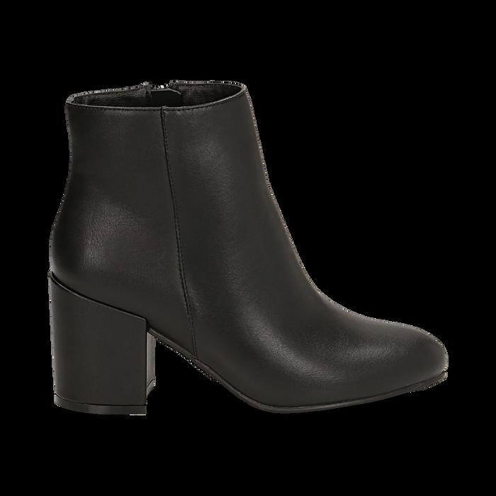 Ankle boots neri in eco-pelle, tacco 7, 50 cm , Stivaletti, 142762715EPNERO036