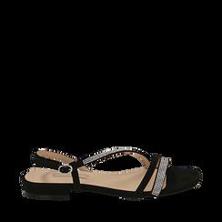 CALZATURA FLAT MICROFIBRA PIETRE NERO, Chaussures, 154821662MPNERO036, 001a