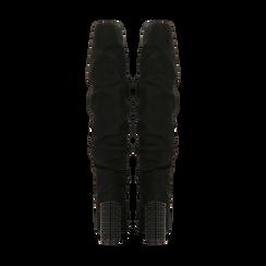 Stivali neri scamosciati con gambale drappeggiato, tacco alto 9,5cm, Primadonna, 124911102MFNERO, 003 preview