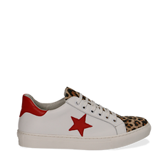 Sneakers bianco/rosse in pelle con pattina leopard, Scarpe, 13C300029PEBIRO035, 001a
